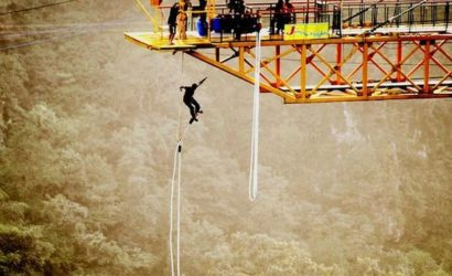 Bungee Jumping By a Boy
