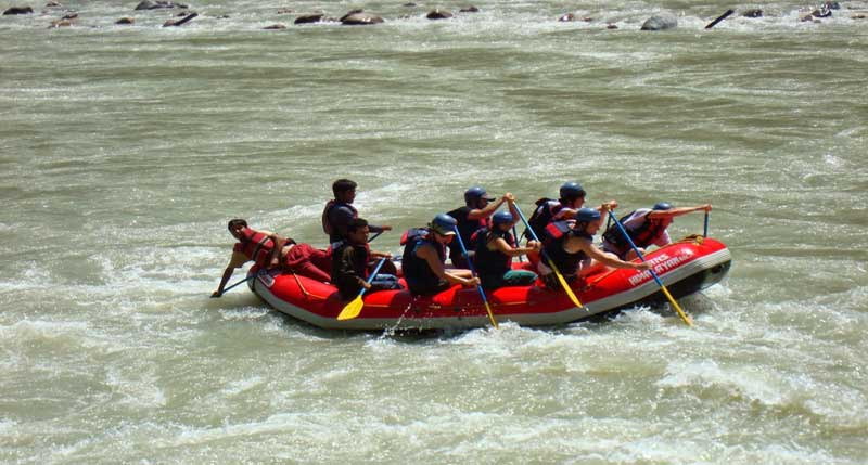 A group while River Rafting in Rishikesh