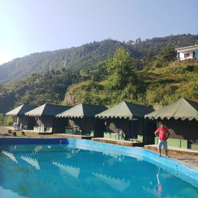 Swiss Camps and Swimming Pool of Mussoorie Camp Resort