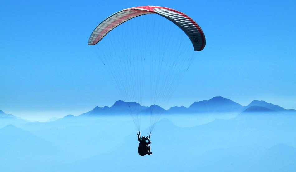 Aerial view of paragliding in Dehradun