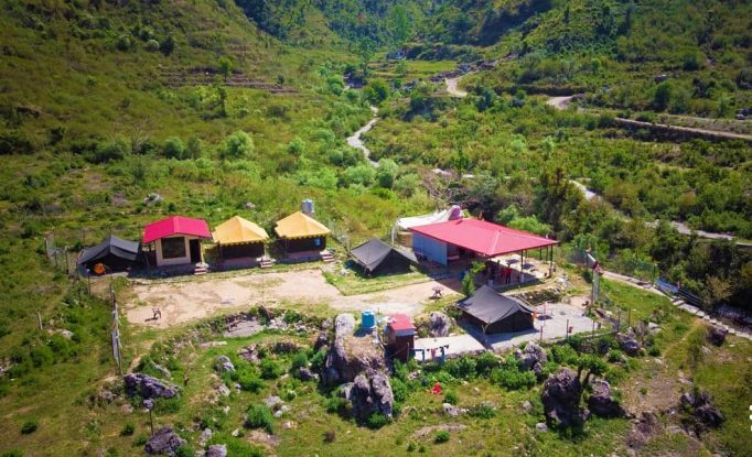 Aerial view of Bhattafall Camps