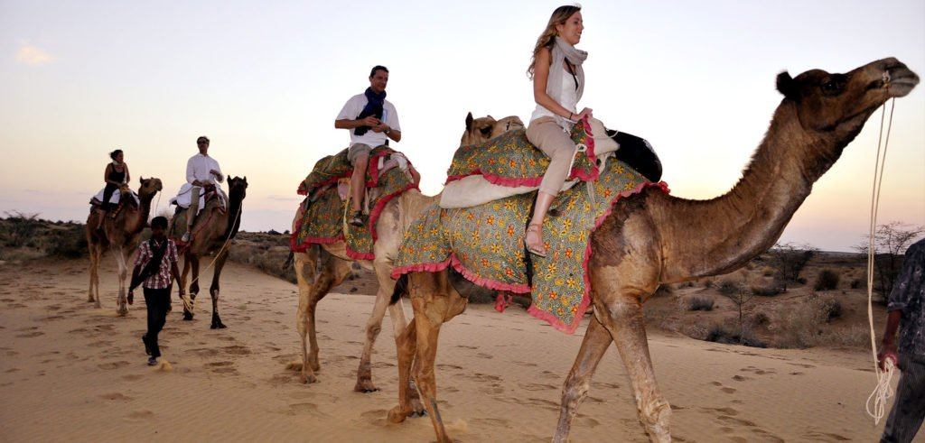 Camel Safari at sheesh mahal desert camp