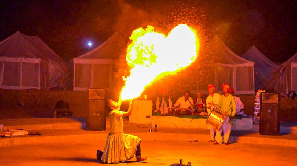 Fire dance in limra desert camp