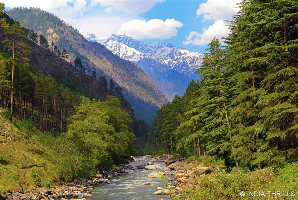 Green meadows with river in kheerganga valley