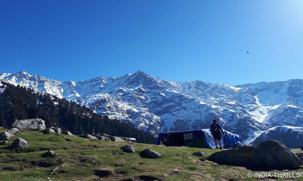 Snowcapped valley view from Triund hills